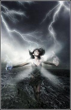 woman with lightening bolts